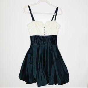 BCBGMaxAzria Black White Tuxedo Bubble Mini Dress